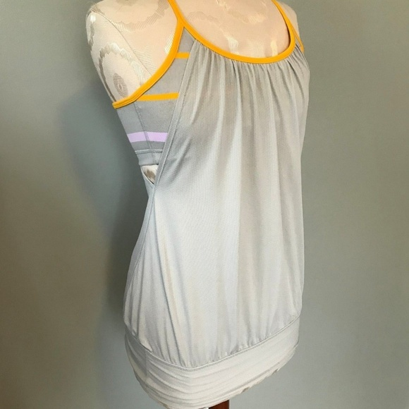 62290880e0 lululemon athletica Tops - Lululemon Gray   Yellow Built-In-Bra No Limit  Tank